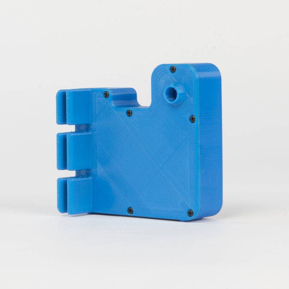 Camera with Battery Holder - Type C   This housing is made from a 3D printed shell and rear panel. The integrated rear panel prongs are for attaching a USB battery with cable ties or elastic bands..  more