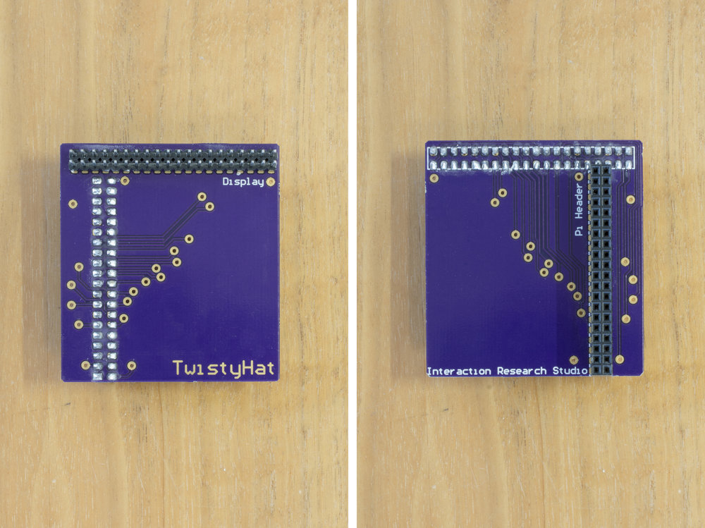 Step 2  Order the TwistyHat PCB at  OSHPark.com  and solder or attach (if using solderless) headers as shown above.