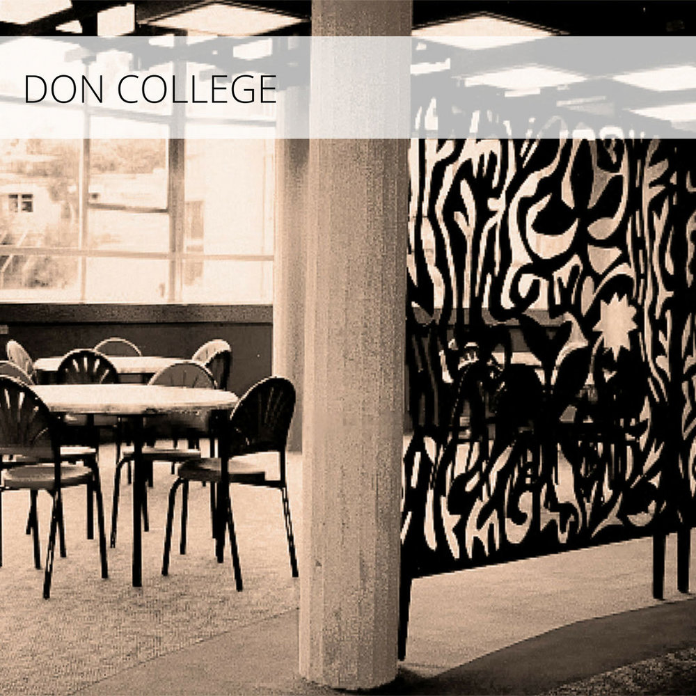 Student common room refurbishment, carpet textile design and commissioned art.   The Don College is a secondary college catering for Years 11 and 12 students.  Designed for The Department of Public Works in 1972, Tasmania, its chief architect was S.T.Tomlinson.  The building consisted of three hexagonal wings, five levels high, joined by a central administrative bridge. The design brief called for the refurbishment of the student common-rooms, including a newly designed carpet, and commissioned artwork.  Don College is located in a leafy bush setting, along the banks of the Don River, in Devonport, Tasmania  Published: Interface, Design Space: magazine for Asia-Pacific specifiers, Vol 3