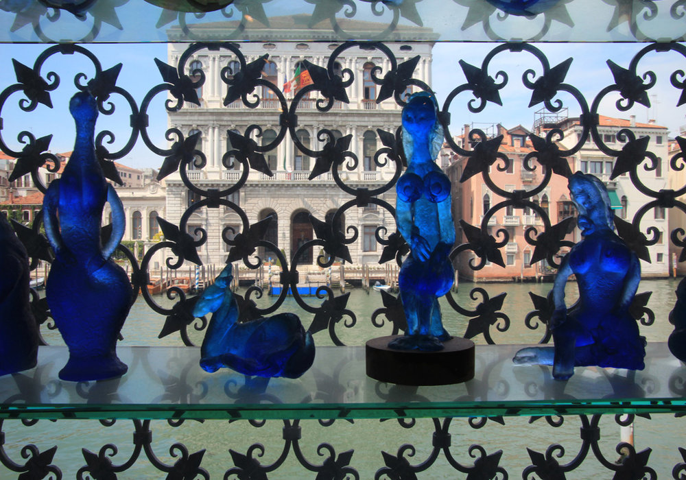 Peggy's beautiful blue Venetian glass figurines.