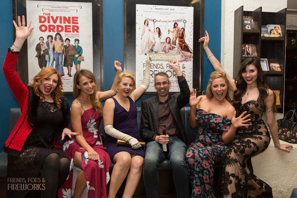 Actors and directors share a cheeky celebration at the premiere. L to R: Whitney Duff, Lara Deam, Sarah Jayne, Ivan Malekin, Genya Mik, Asleen Mauthoor.