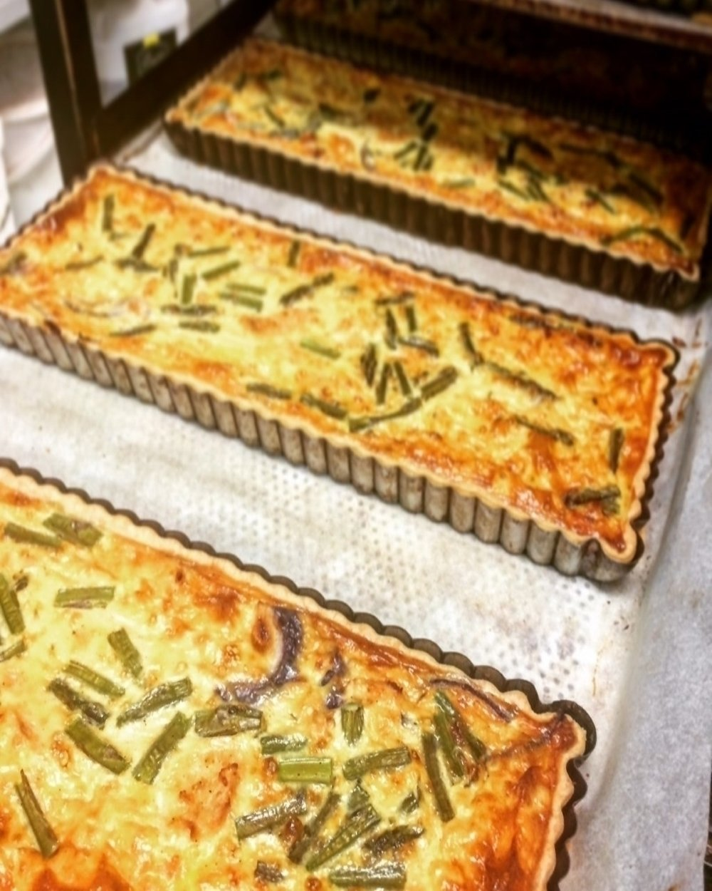 Chicken & Asparagus Tarts & Quiches     Retail -Large family sized tarts  Cafe/Deli -Individual quiches