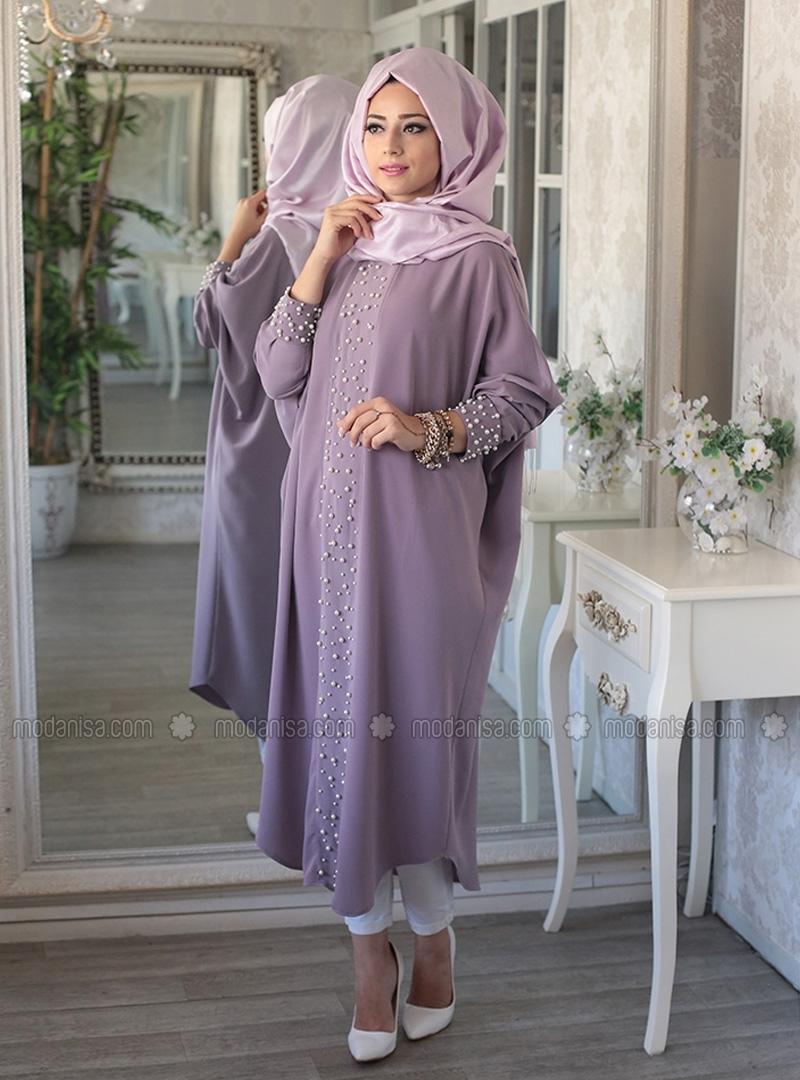 Lilac Elisa Bead Detailed Abaya Tunic by Lef'zen