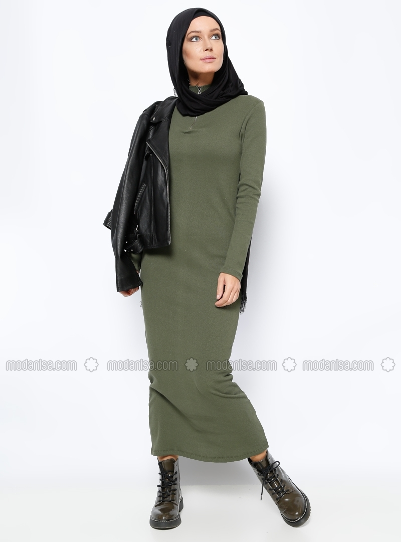 Khaki Zipper detail polo neck dress by Everyday Basic