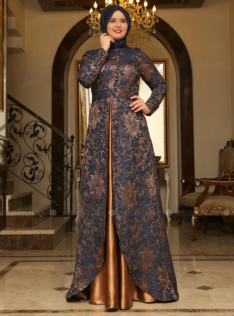 Copper & Navy Blue Brocade evening Dress by Saliha