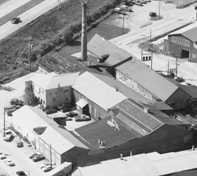 Aerial photograph of the Cook, Watkins and Patch Condominium Association where Cochran's Inc. resides.  Smith and Blackwell Streets in Barre, VT circa 1983.