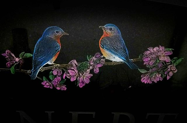 A beautiful colored etching completed today. #colorful #bluebirds #flowers #etching #laser #memorial #cochransinc