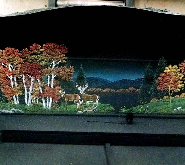 Fall is coming and we love painting those bright colors! #fall #landscape #colorful #deer #laseretching  #etchedgranite  #granite