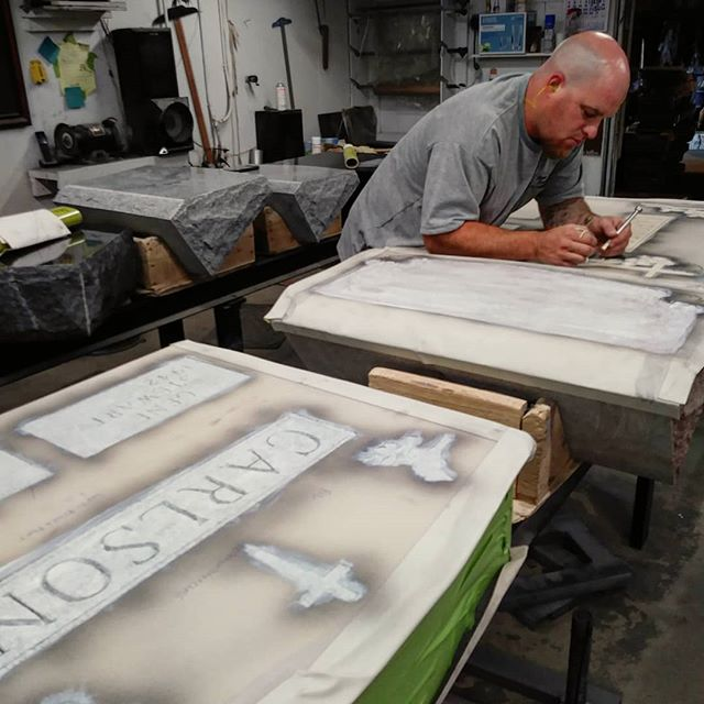 James of Stone Valley Sandblast at work. The guys at SVS really go above and beyond for us. We are so greatful to them for all that they do. . . .  On top of their sandblast work and all the extra things they do, they also teach the sandblasting courses that we offer! . . . . . .  #svs #localbusinesses #courses #classes #gurus  #learn  #teamwork #sandblast #granite #rocksolidfriendship #thankyou