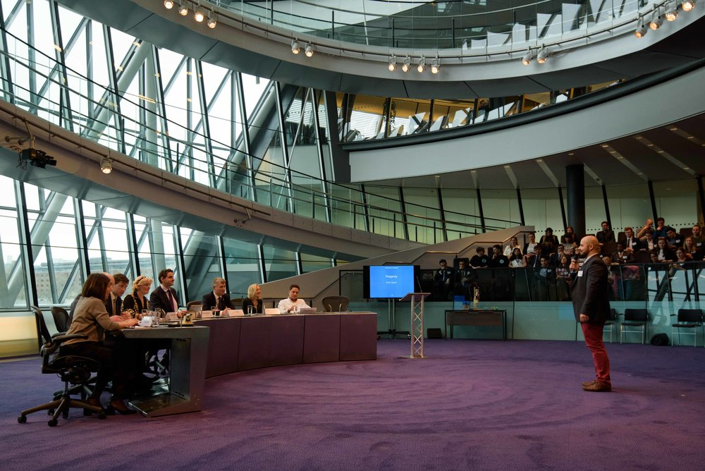 Ehab pitching Biohm at City Hall to some of the UK's most successful entrepreneurs for the Mayor of London's entrepreneur 2017