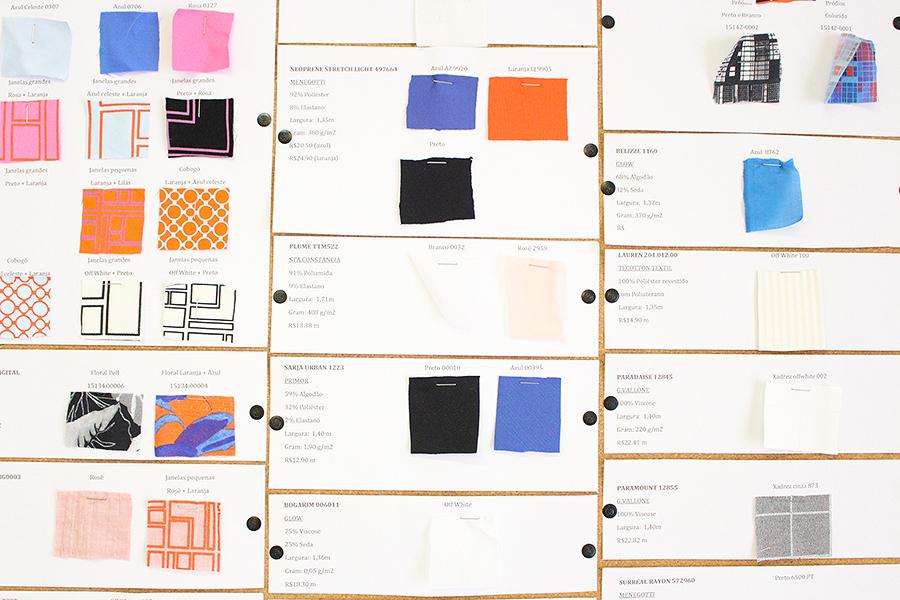 Tecidos, cores e composições.