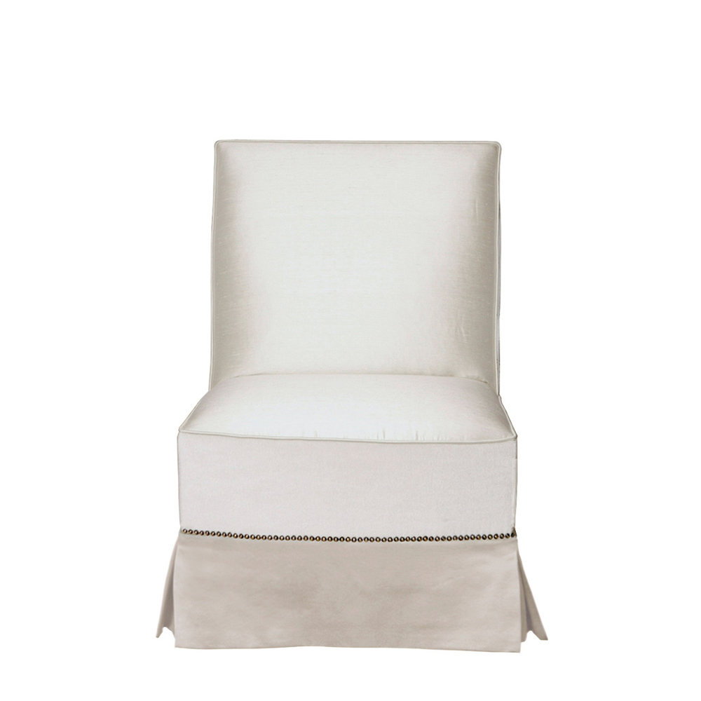 White Studded Slipper Chair    more info