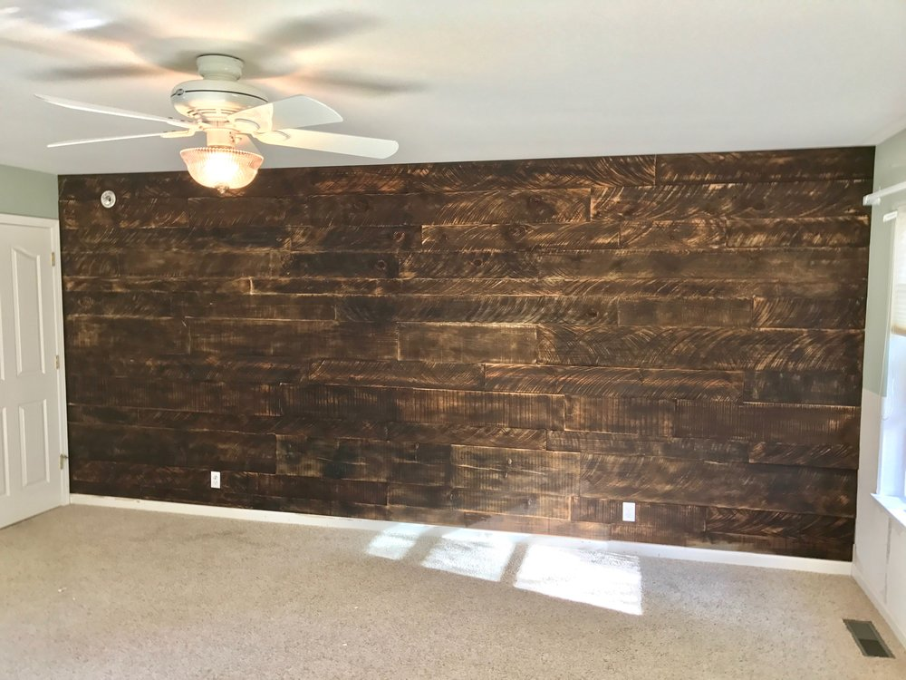 Dark rustic bedroom wall.