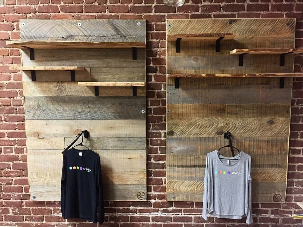 Merchandise wall for Soma Fitness downtown Sonora.
