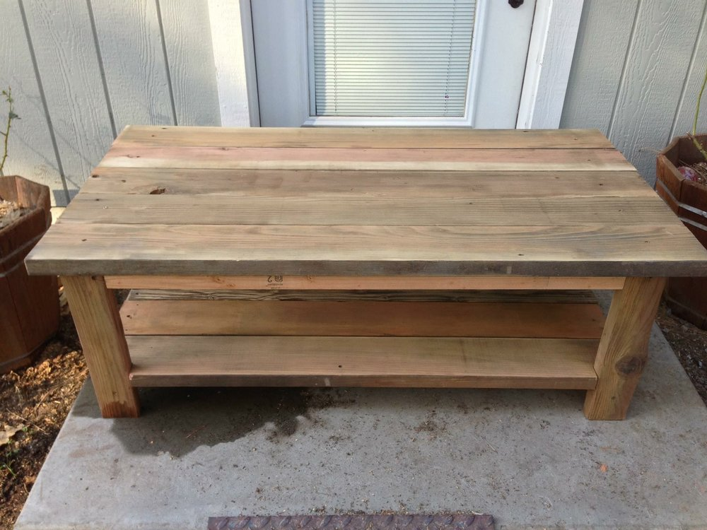 first coffee table - I decided I wanted to make a coffee table and took some scraps from around the yard and threw one together.Years later it is still in my best friends living room, they refuse to let me make them a new one. This was the first piece of furniture I made.