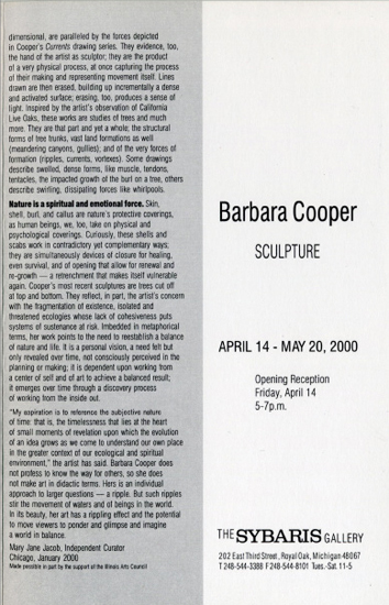 Sybaris Gallery brochure, 2000, Mary Jane Jacob