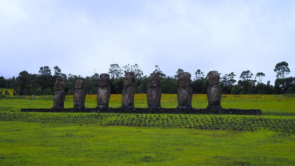 Ahu Akivi, the first restored Moai platform.