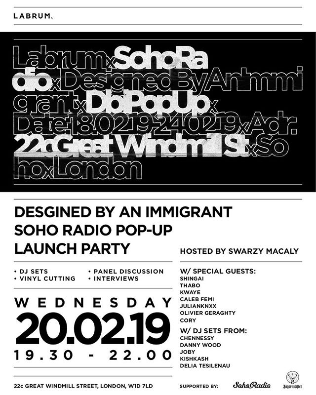 Tonight, @sohoradio comes alive. @labrumlondon invites you to celebrate with us at @sohoradio hosted by @jagermeisteruk  With live streaming on air, we'll be playing our favourite records, giving free cocktails and holding a panel discussion on all things music, lifestyle, culture and fashion. Wednesday 20 February 2019 7pm - 10pm . . #labrumlondon #sohoradio #jagermeister #jagersoho #popupshop #london #designedbyanimmigrant #mensstyle #soho #london