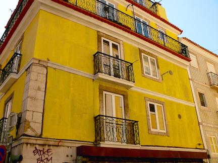 Yellow facade in Lisbon, Portugal