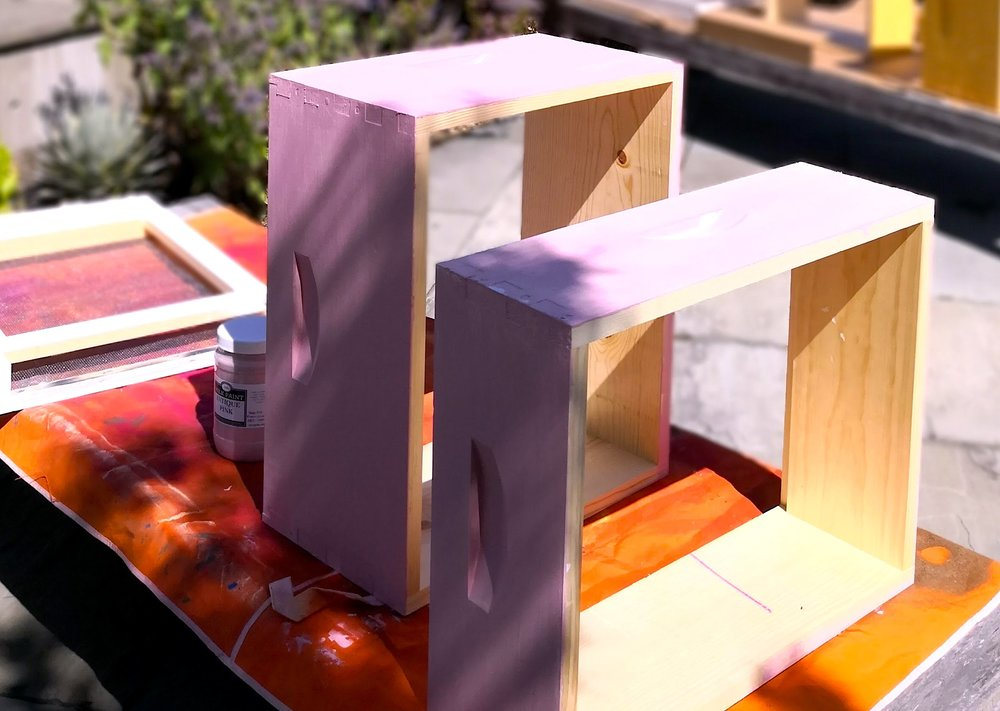 Painting Bee Boxes with Antique Pink Sinopia Milk Paint