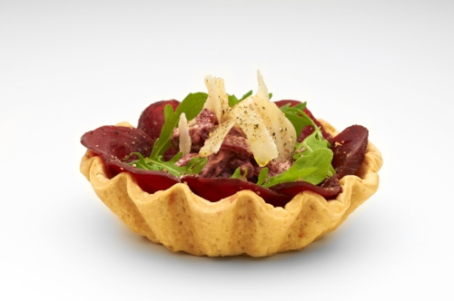 "Flutted 5"" Cheese Straw Basket with sliced fresh beetroot topping, creamed horse radish parmesan flakes and pickled beetroot stack. Product code - FF2050"