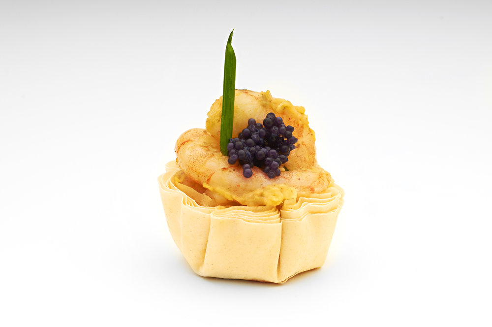 "Basil crème fresh, poached quails egg and black lump fish caviar in a  1 "" filo tart .  Product code - FF3011"