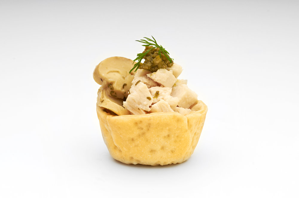"Steamed free range chicken breast and pickled button mushrooms drizzled with lemon oil in a  1"" Cheese Straw Deluxe .  Product code - FF2011"
