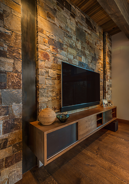 Lot 54_Media Room_Stone Wall_Steel Inset.jpg