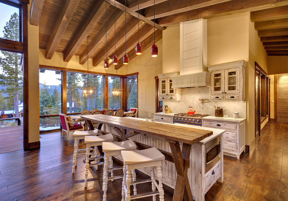 Lot 145_Kitchen_Island_Dining_Exposed Wood Beams_Pendants_Wood Floors.jpg