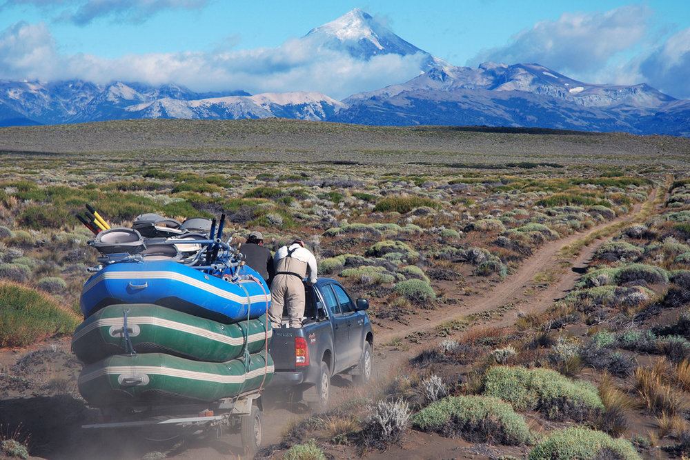 Heading to the put-in on the Rio Chimehuin, Patagonia