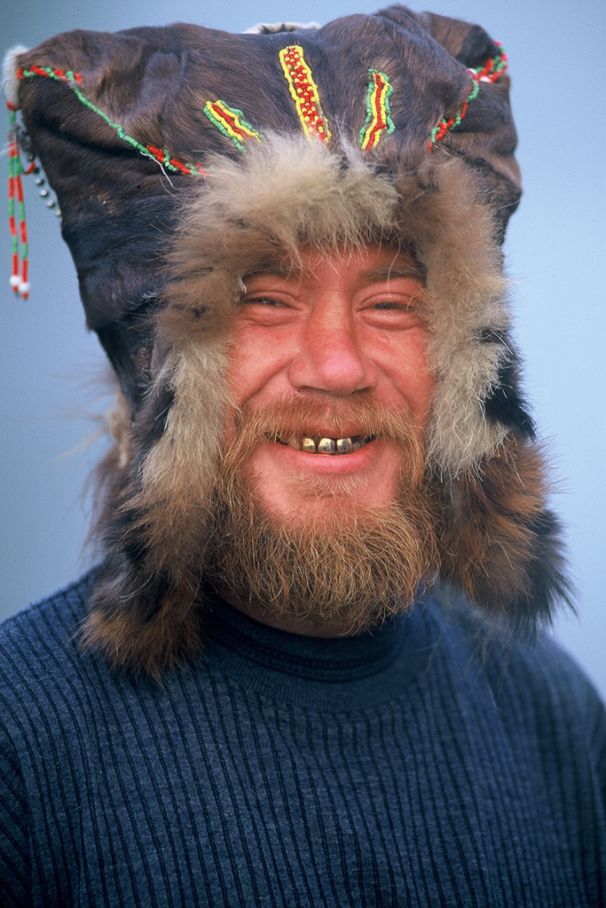 Russian in native hat on Kamchatka Peninsula