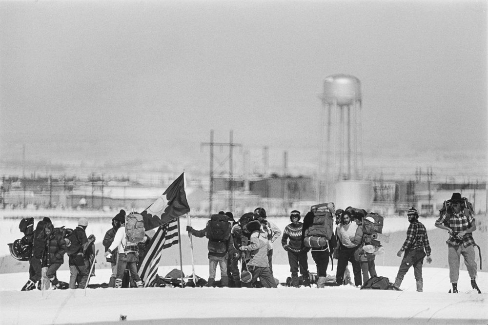 May 7, 1978: The group is back, after marching several miles through a deep accumulation of spring snow, to set up a new camp site on a ridge overlooking the nuclear weapons facility.