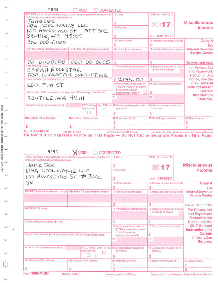 How To Fill Out Send 1099 Misc Forms Seattle Business Apothecary