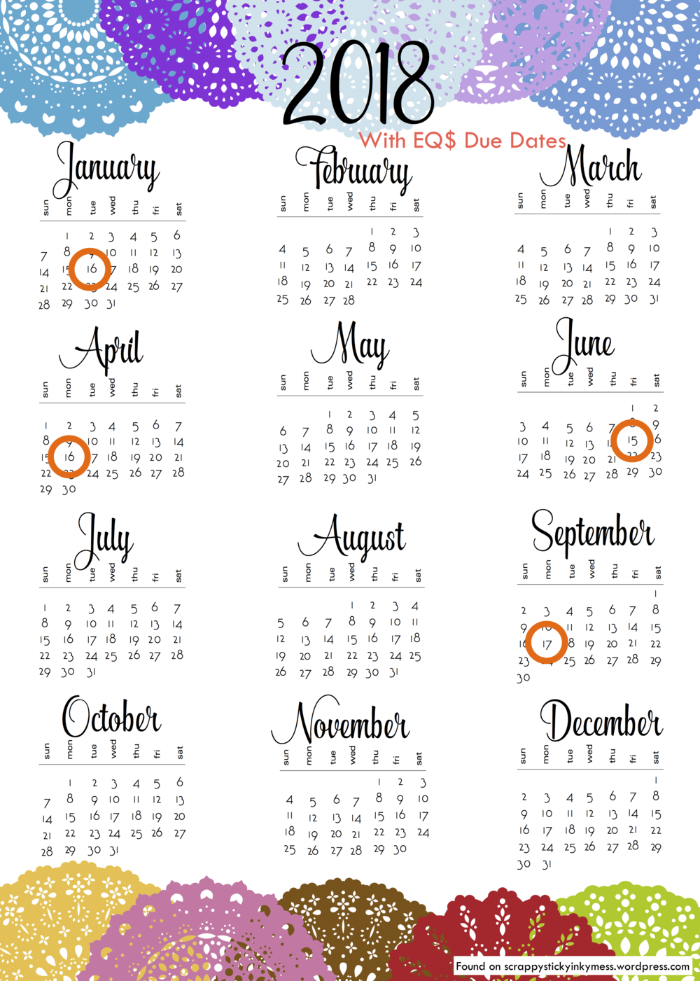 To download original calendar,  click here .  Thank you to scrappystickyinkymess.wordpress.com.
