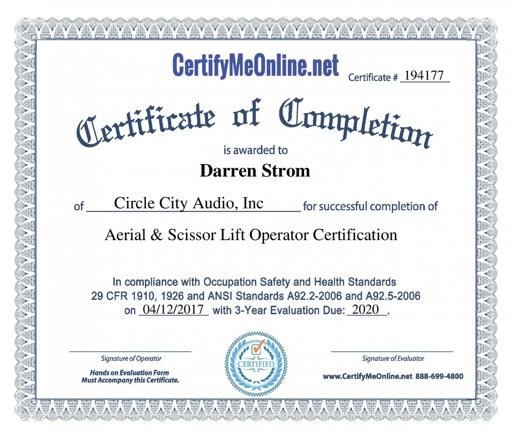 Darren strom circle city audio aerial scissor lift certification xflitez Choice Image