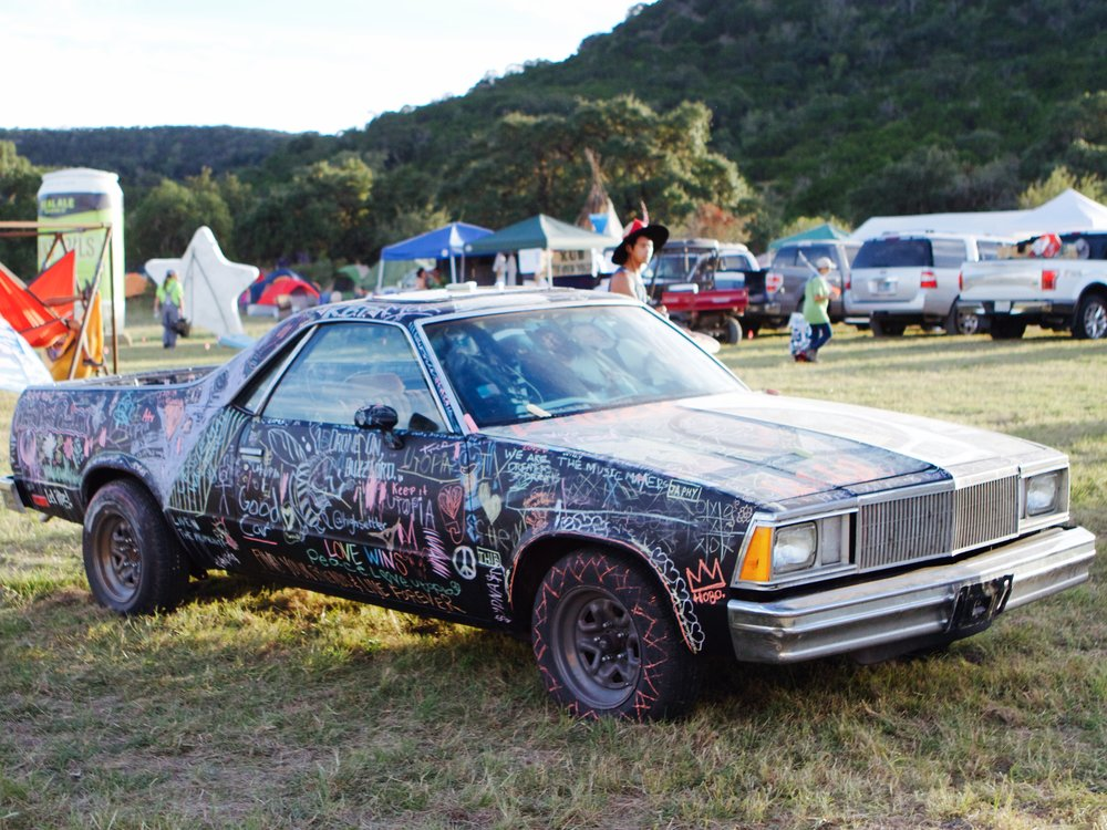 The Chalkboard Art Car  will be back at Utopiafest this year for your scribbling pleasure. Find the 1981 Chevy El Camino on the festival grounds throughout the weekend!