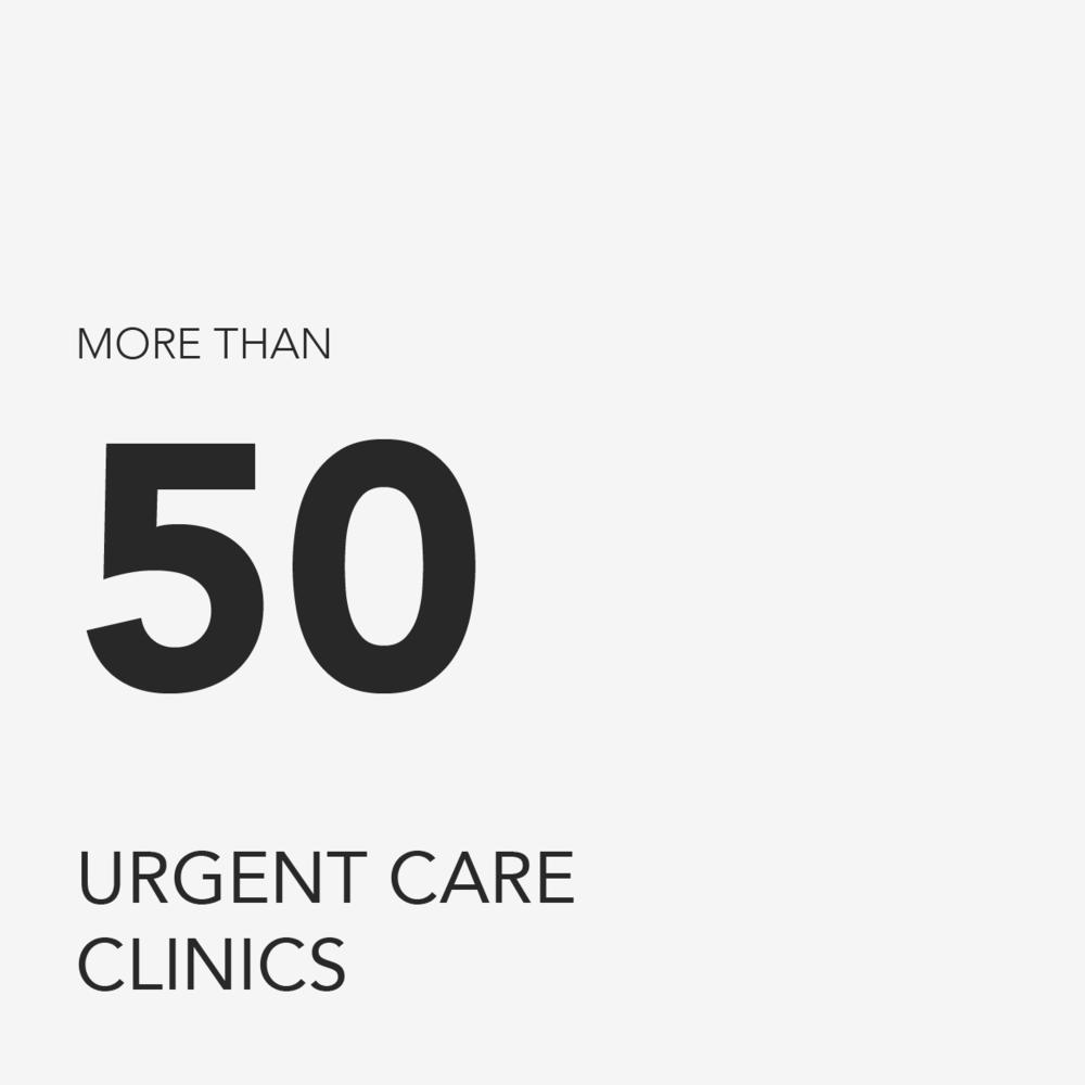 More than 50 urgent care clinics