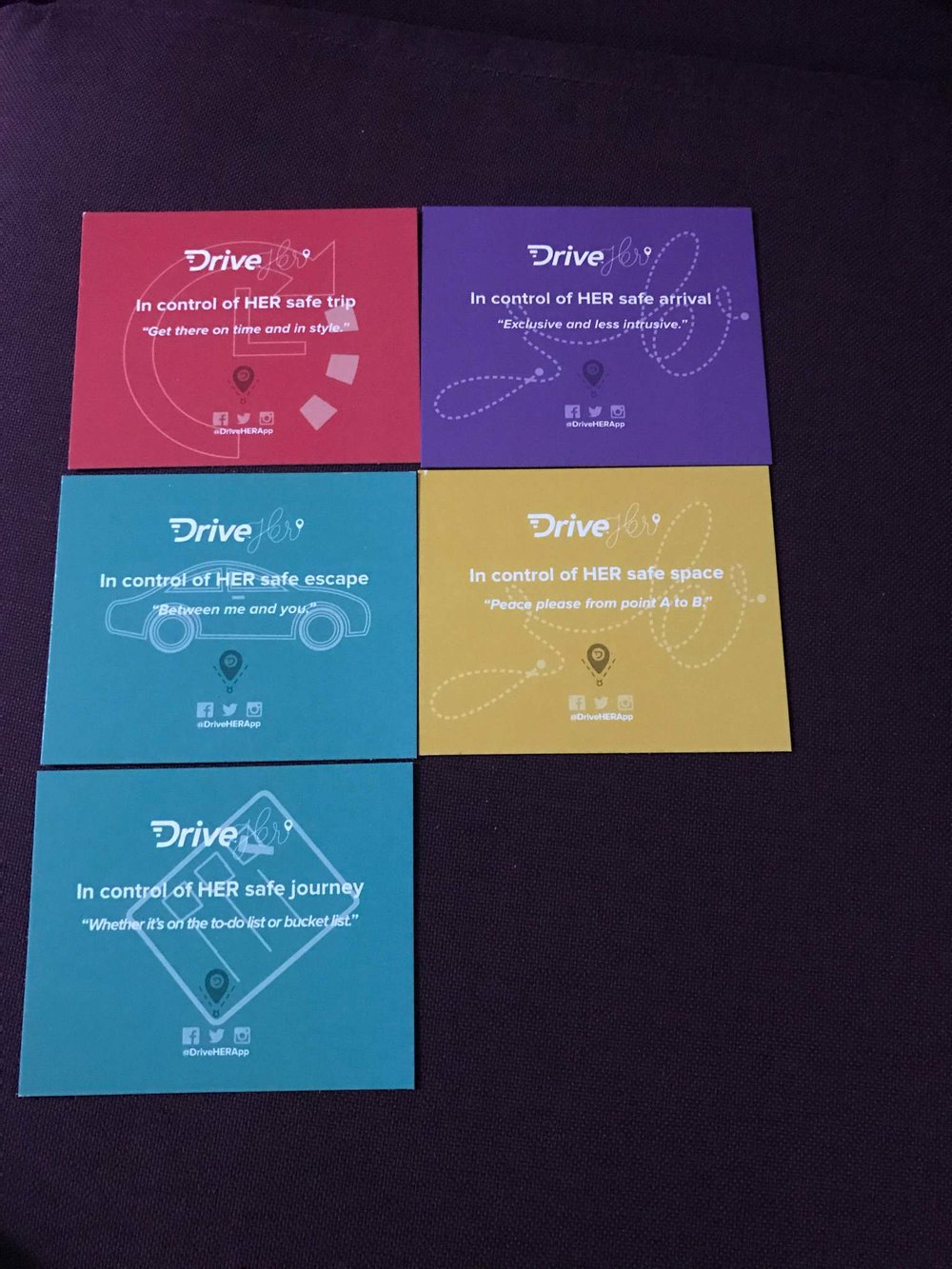 Copywriting for DriveHER App Promo Passes | For Women by Women Ride-Safe Service. Strong (relatable) statements to connect to target market.