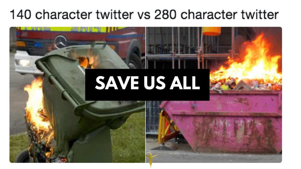 280 character Twitter update