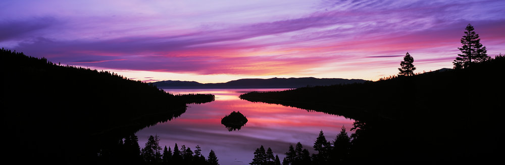Emerald Bay Sunrise Reflection Panorama, Lake Tahoe