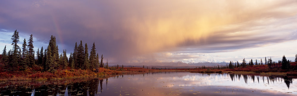 Kettle Pond, Rainbow, Hanging Clouds Panorama, Denali