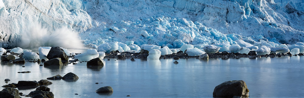 Splashing Ice, Glacier Panorama, Glacier Bay, Alaska