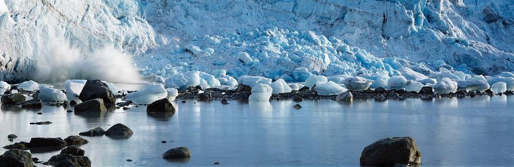 Splashing Ice, Glacier Panorama, Glacier Bay, Alaska