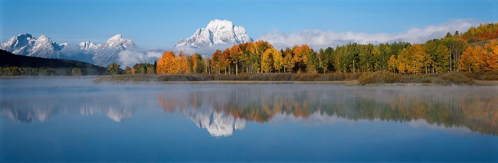 First Snow, Fall Color, Oxbow Bend Panorama