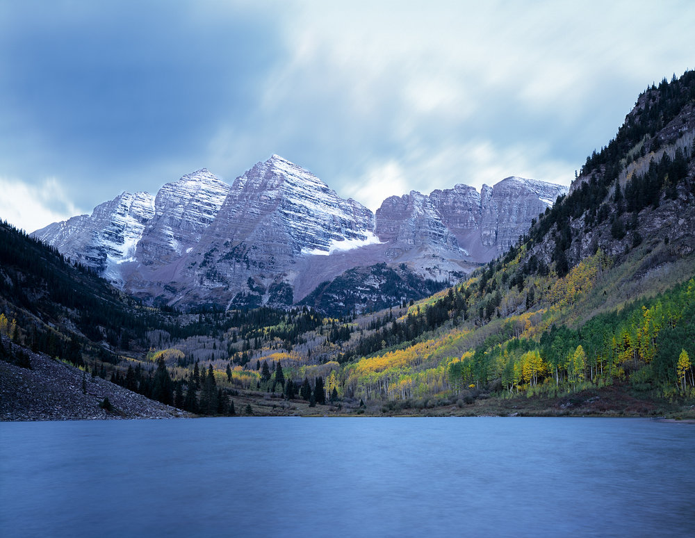 Maroon Bells, Pre-Dawn Moonlight, Colorado