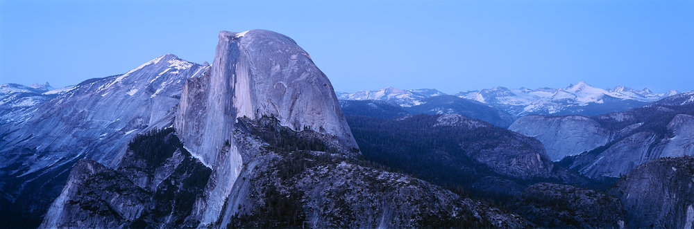 Half Dome Twilight Panorama from Glacier Point, Yosemite, California