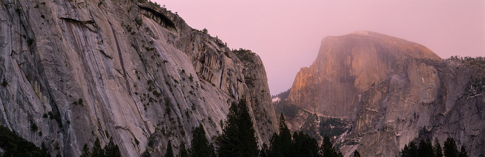 Half Dome, Sunset Mist Panorama, Yosemite Valley, California