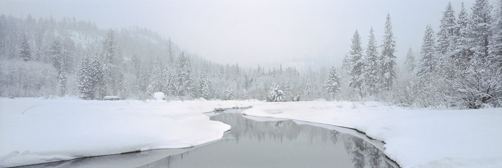 Truckee River Sunrise Blizzard Panorama