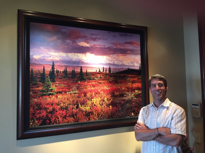 Jon Paul with a newly hung 40x50 inch print in a collectors lakefront home. Jon scanned the 4x5 inch transparency on his Imacon / Hasselblad 646 virtual drum scanner.