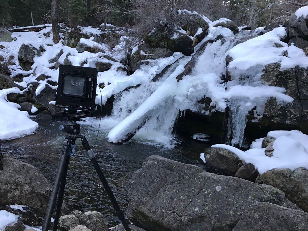 Here is my setup. As you can see, the short exposure in this iphone picture shares a much different feel compared to my long exposure on film. The water has a cold feel that is merely a record of the scene.